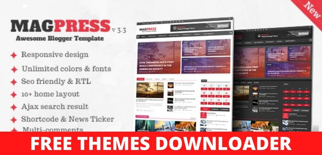 Download Free Magpress Responsive Blogger Template 3.1