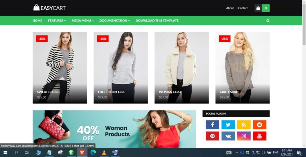 Main Features of Easy Cart Blogger Template